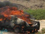 الأمير تركي بن طلال يتابع حادثة احتراق سيارة الرمالي في رالي عسير