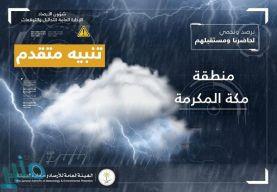 حتى الـ 8 مساء .. تنبيه بهطول أمطار رعدية على عدد من محافظات مكة المكرمة